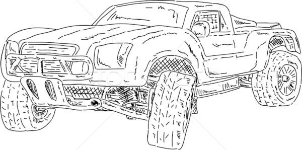 Raça curto caminhão vetor isolado carro Foto stock © pavelmidi