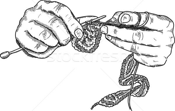 Crochê mãos vetor gancho trabalhando Foto stock © pavelmidi