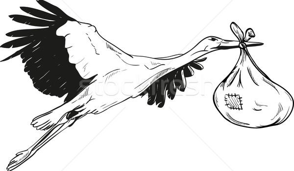 Leylek Bebek çanta Uçan Boya Kuş Vektör Ilüstrasyonu