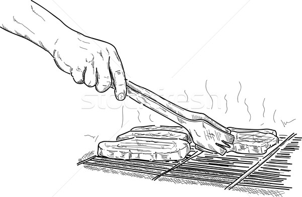 Stock photo:  grilling a steak