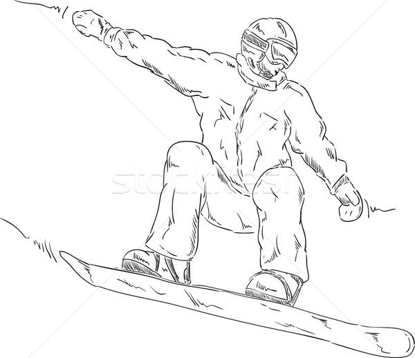 Snowboard vector springen sneeuw winter snelheid Stockfoto © pavelmidi