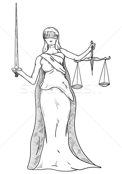 Bogini sprawiedliwości wektora kobieta tle czarny Zdjęcia stock © pavelmidi