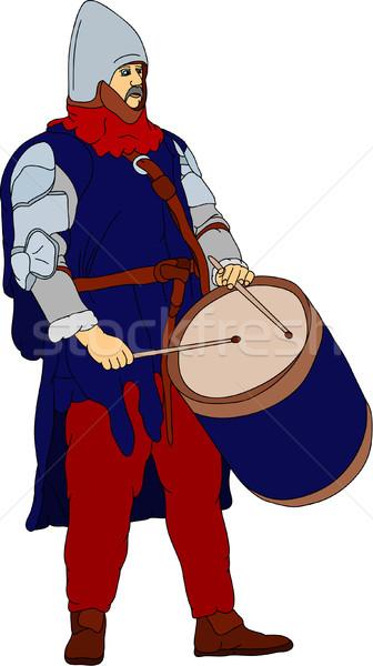 Vektor geschichtlich Schlagzeuger spielen Trommel Hintergrund Stock foto © pavelmidi