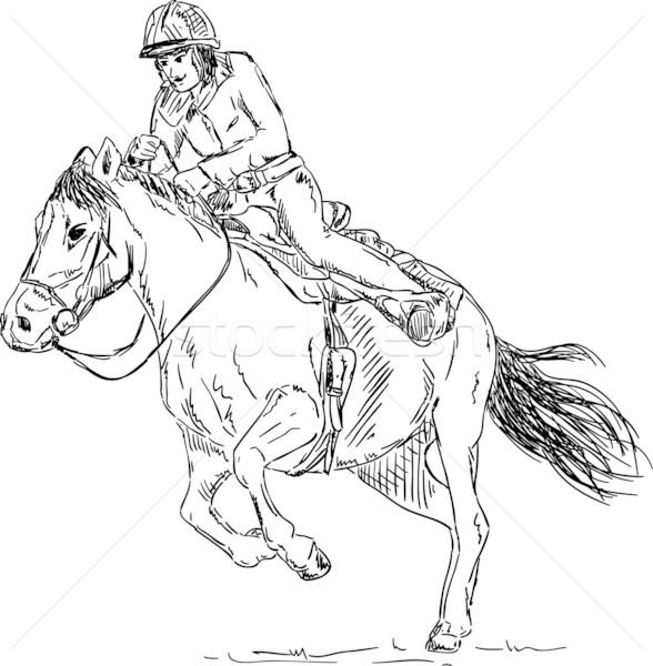girl - horse rider Stock photo © pavelmidi