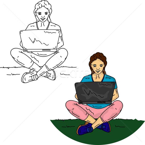 Kız oturma pc vektör çim defter Stok fotoğraf © pavelmidi