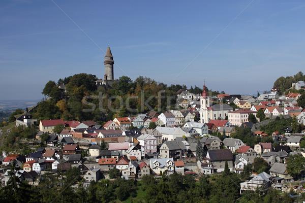 Historisch stad kasteel heuvel top Tsjechische Republiek Stockfoto © pavelmidi