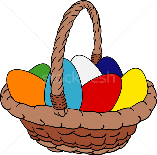 Panier oeufs vecteur œufs de Pâques Pâques peinture Photo stock © pavelmidi