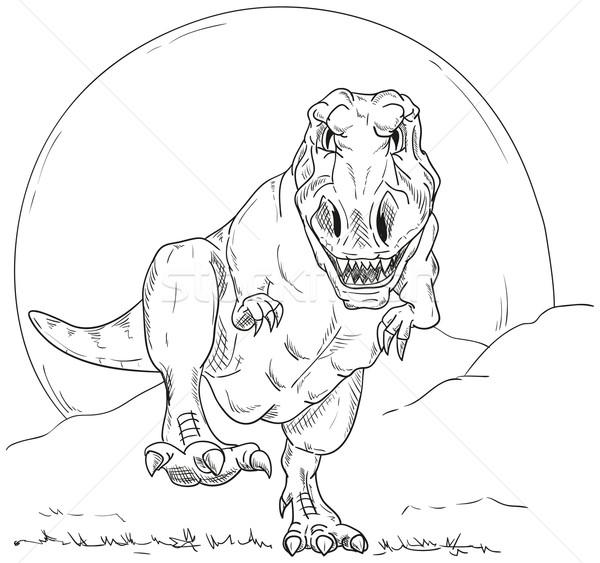 Dinozor vektör çalıştırmak model ay arka plan Stok fotoğraf © pavelmidi