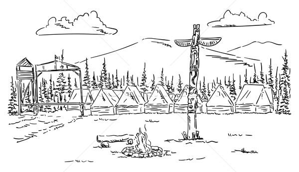 çadır kamp vektör yangın doğa Stok fotoğraf © pavelmidi