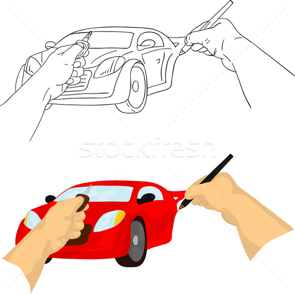 El çizim araba vektör tuşları Stok fotoğraf © pavelmidi