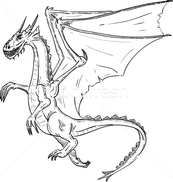 Dragão voador vetor projeto arte preto Foto stock © pavelmidi