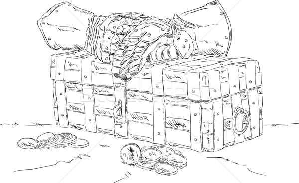 Schatkist vector geld hout achtergrond vak Stockfoto © pavelmidi