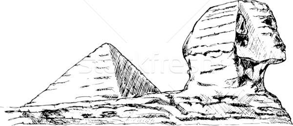 Wektora strony zwrócić szkic twarz kamień Zdjęcia stock © pavelmidi