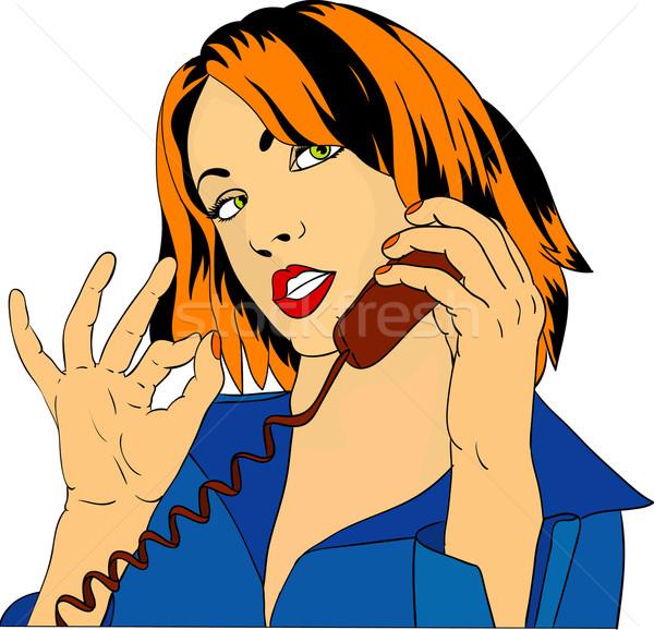 Frauen Telefon Vektor Symbol isoliert Stock foto © pavelmidi