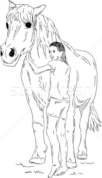 Fille cheval vecteur jeune fille isolé amour Photo stock © pavelmidi