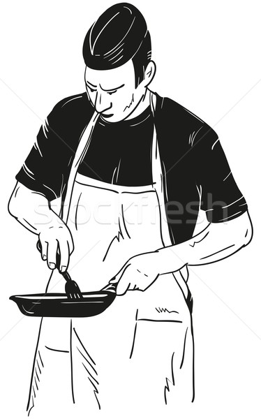 Chef with Frying Pan Stock photo © pavelmidi