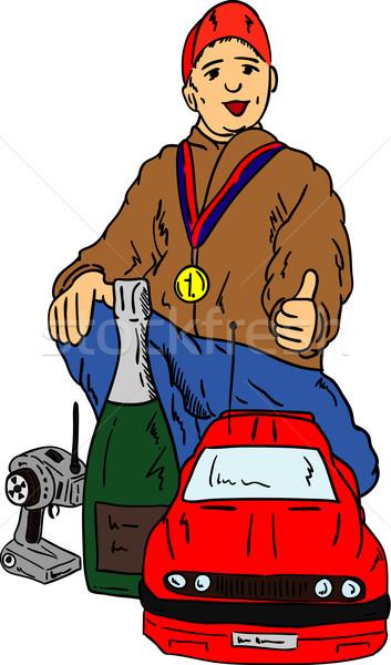 Mutlu küçük erkek kazanan vektör araba Stok fotoğraf © pavelmidi
