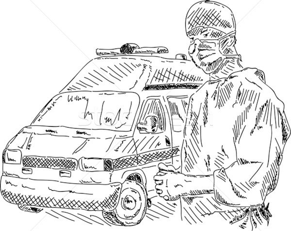 Ambulance médecin vecteur voiture main dessin Photo stock © pavelmidi
