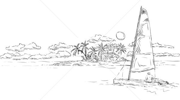 Isla catamarán vector isla tropical puesta de sol playa Foto stock © pavelmidi