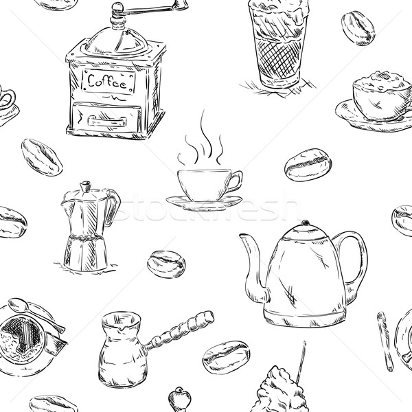pattern of cofee set Stock photo © pavelmidi