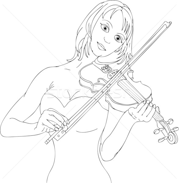 woman playing violin Stock photo © pavelmidi