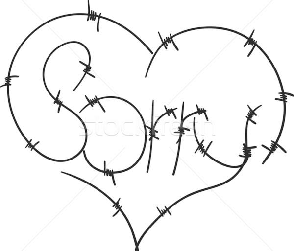 Corazón vector disculpa alambre de púas amor fondo Foto stock © pavelmidi