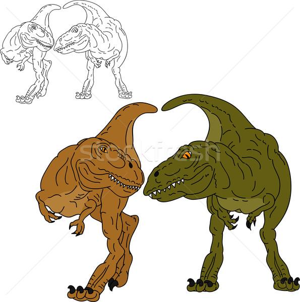 Dois dinossauros juntos vetor família branco Foto stock © pavelmidi
