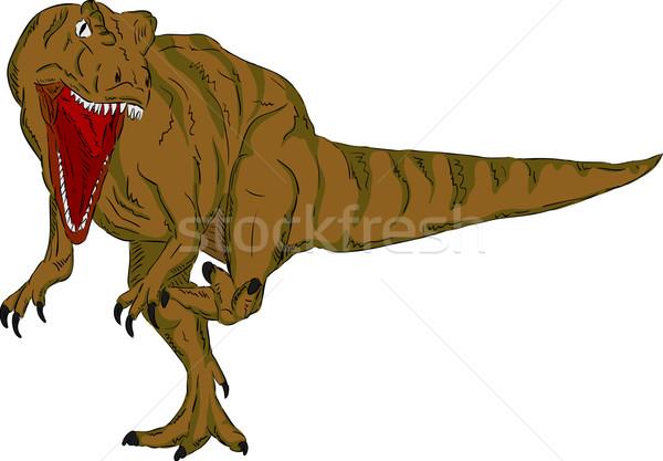 Dinosaurus vector natuur witte dier lopen Stockfoto © pavelmidi