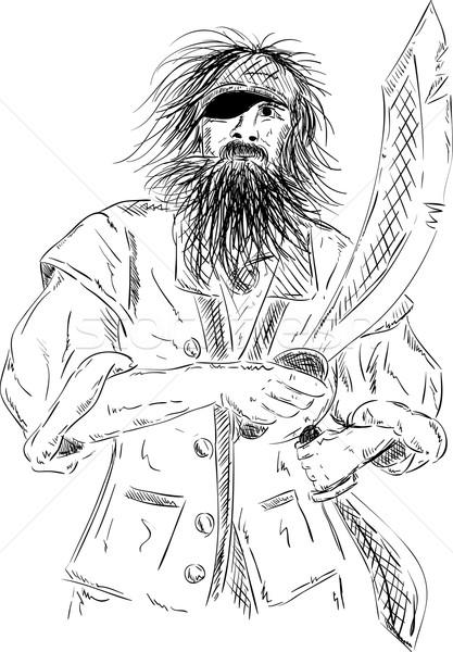 Homme vecteur vieux pirate épée cheveux Photo stock © pavelmidi