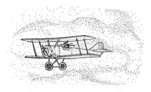 Kétfedelű repülőgép izolált vektor háttér utazás repülőgép Stock fotó © pavelmidi