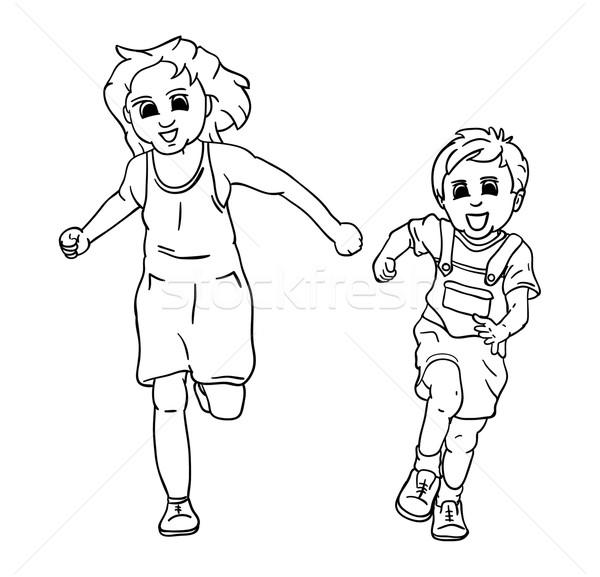 happy girl and boy Stock photo © pavelmidi