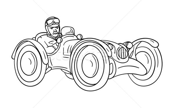 Stary samochód wektora tle miejskich prędkości biały Zdjęcia stock © pavelmidi