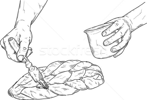 Бейкер вектора Sweet хлеб украденный продовольствие Сток-фото © pavelmidi
