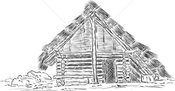 Prehistoric huts of wood and reeds Stock photo © pavelmidi