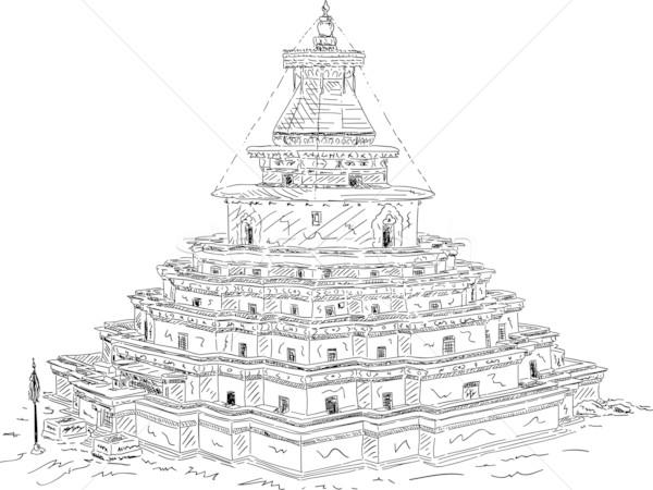 Manastır vektör yalıtılmış ev boya siyah Stok fotoğraf © pavelmidi