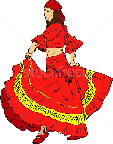 Stok fotoğraf: Kadın · flamenko · dansçı · vektör · elbise