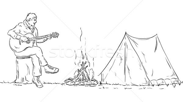 Gitarrist Vektor auskundschaften Gitarre Baum schwarz Stock foto © pavelmidi