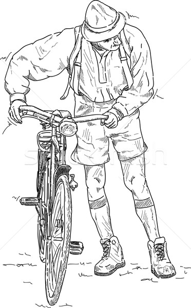 Adam itme bisiklet vektör bisiklet beyaz Stok fotoğraf © pavelmidi