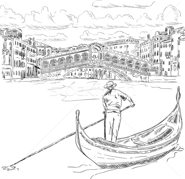 Rialto bridge with gondola Stock photo © pavelmidi
