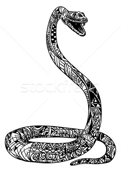 Schlange Vektor cobra Kunst schwarz Welle Stock foto © pavelmidi