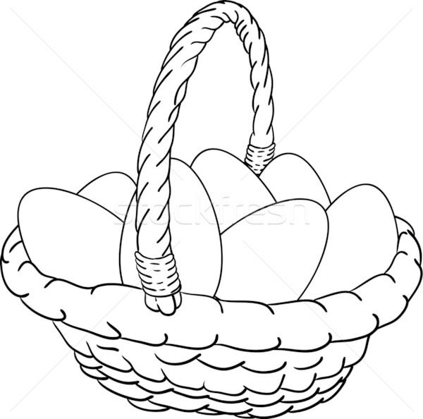 Sepet Paskalya Yumurtası Vektör Paskalya Boya Arka