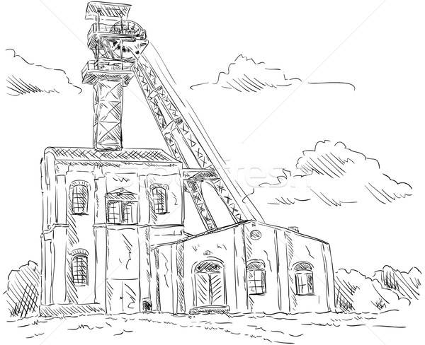 Coal mine headgear tower Stock photo © pavelmidi