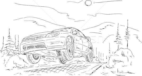 Rally autó ugrik vektor égbolt fa Stock fotó © pavelmidi