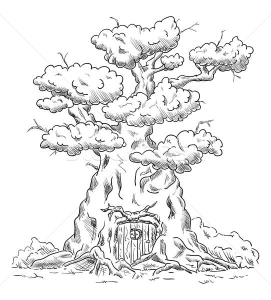 Stockfoto: Vector · oude · groot · boom · huis · wortels