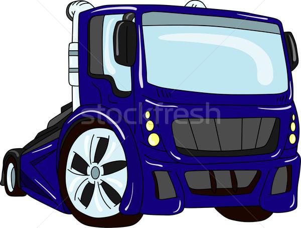 Araba vektör ayar yalıtılmış mavi kentsel Stok fotoğraf © pavelmidi