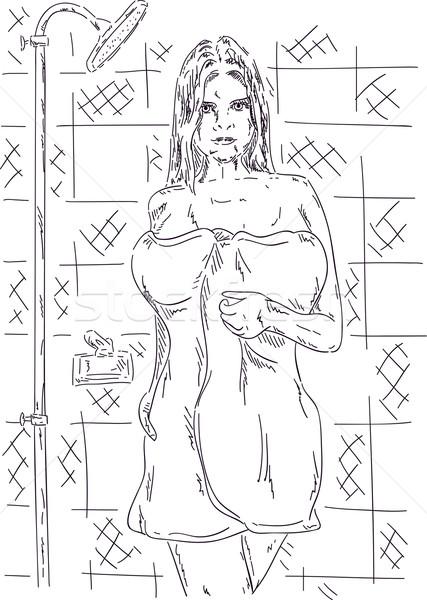 woman in bathroom Stock photo © pavelmidi