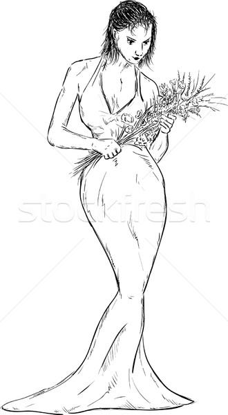 Frauen lange Kleid Vektor Blumen Lächeln Stock foto © pavelmidi