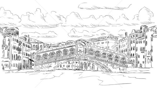 Brücke Vektor Venedig Italien Wasser Wolken Stock foto © pavelmidi