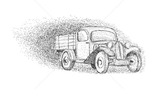 Oude auto geïsoleerd vector achtergrond stedelijke schilderij Stockfoto © pavelmidi