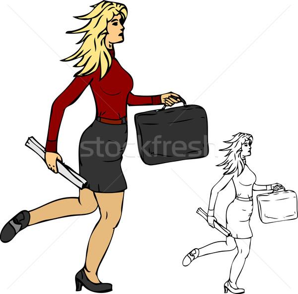 Femmes courir vecteur affaires femme travaux Photo stock © pavelmidi